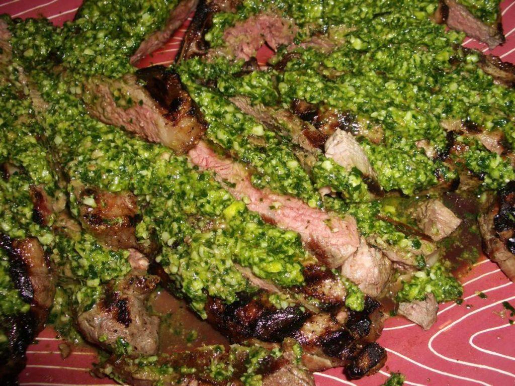 Meat T-Bone Steak with Parsley Parmigiano Pesto