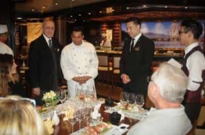 Somm Chef Maitre d hotel Diamond Princess at Sake tasting
