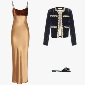 Acne Studios Elina satin and velvet slip dress; Acne Studios Elina satin crushed velvet jacket; Miu Miu crystal-embellished velvet mules