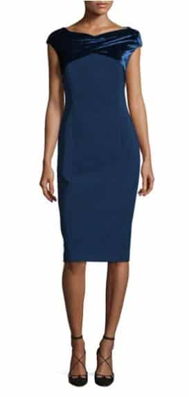 Cap-Sleeve Crossover Velvet-Trimmed Sheath Dress, Lafayette 148 New York