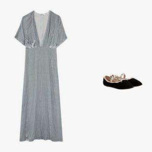 Ganni velvet maxi dress; Valentino Rockstud ballet velvet ballerinas