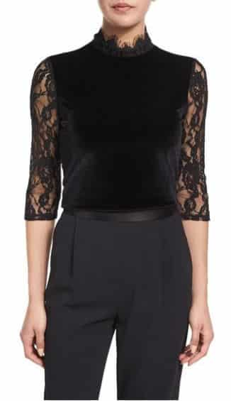 Jenny Velvet & Lace Mock-Neck Top, Alice + Olivia