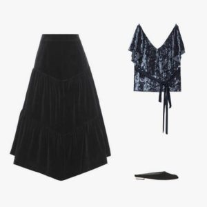 Saint Laurent velvet skirt; Zara frilled velvet top; Alice and Olivia Abbey velvet slip-on