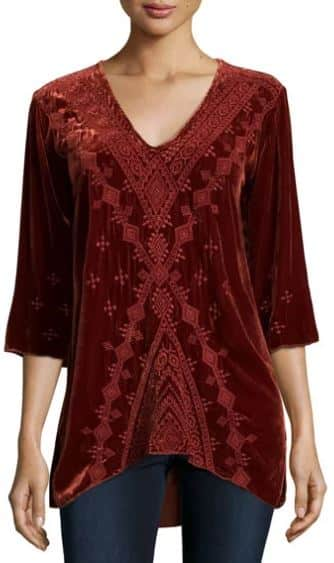 Shobah Embroidered Velvet Tunic, JWLA for Johnny Was