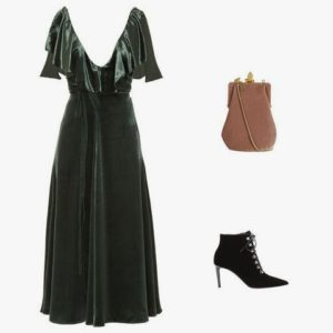 Valentino deep V-neck velvet midi dress; Saint Laurent Bijoux velvet shoulder bag; Balenciaga velvet ankle boots
