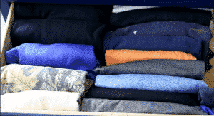 clothes folded vertically