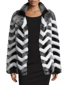 Belle Fare Chevron Fur Jacket