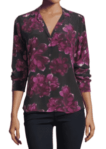 Equipment Adalyn Long-Sleeve Floral-Print Silk Shirt