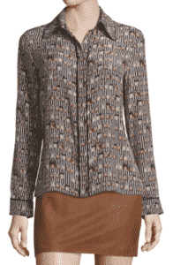 Alice + Olivia Alfie Long-Sleeve Silk Owl Blouse