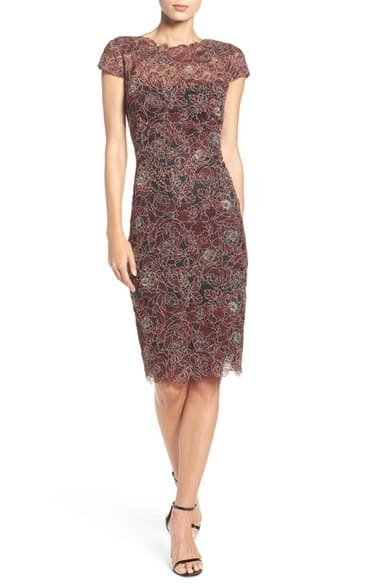 Embroidered Mesh Sheath Dress