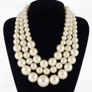 Resin White Faux Handmade Pearls Multi Strand