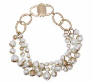 Saachi Half Moon Faux Pearl Layered Necklace