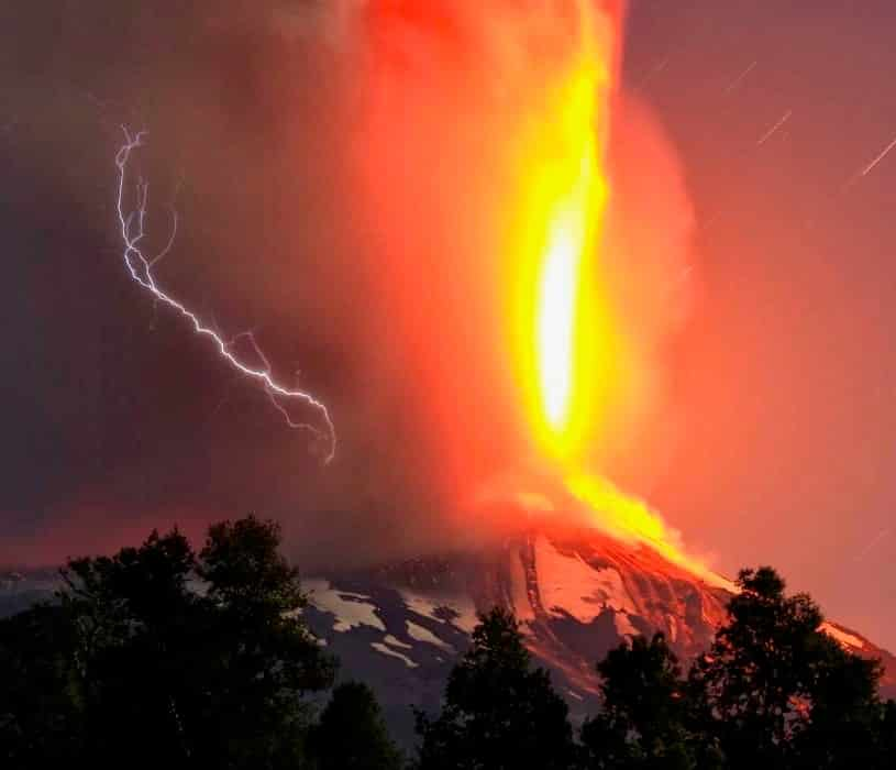 Volcano erupting (this was 2 miles of fire ABOVE the cone)