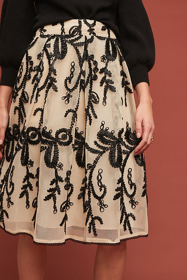 Anthropologie Embroidered Tulle Skirt