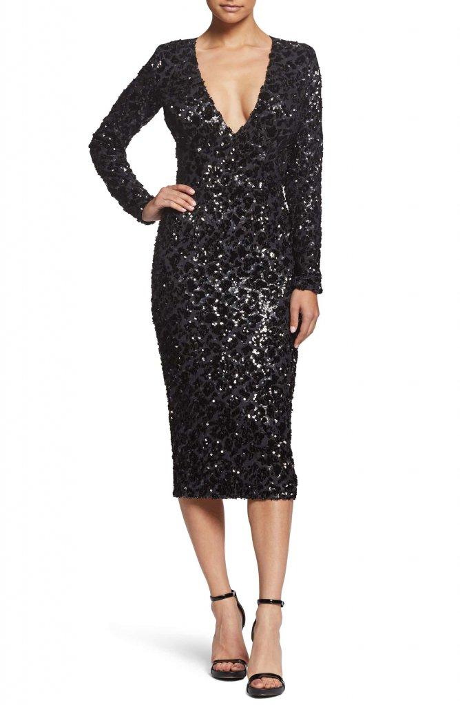 Dress the Population Elizabeth Plunge Midi Dress
