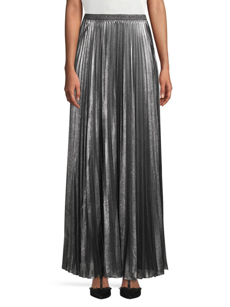 Eliza J Pleated Metallic Skirt