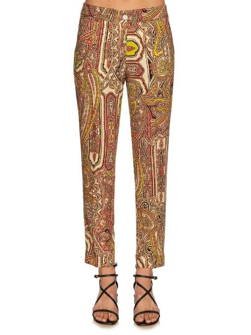 Decorative-Print Wool Cigarette Trousers