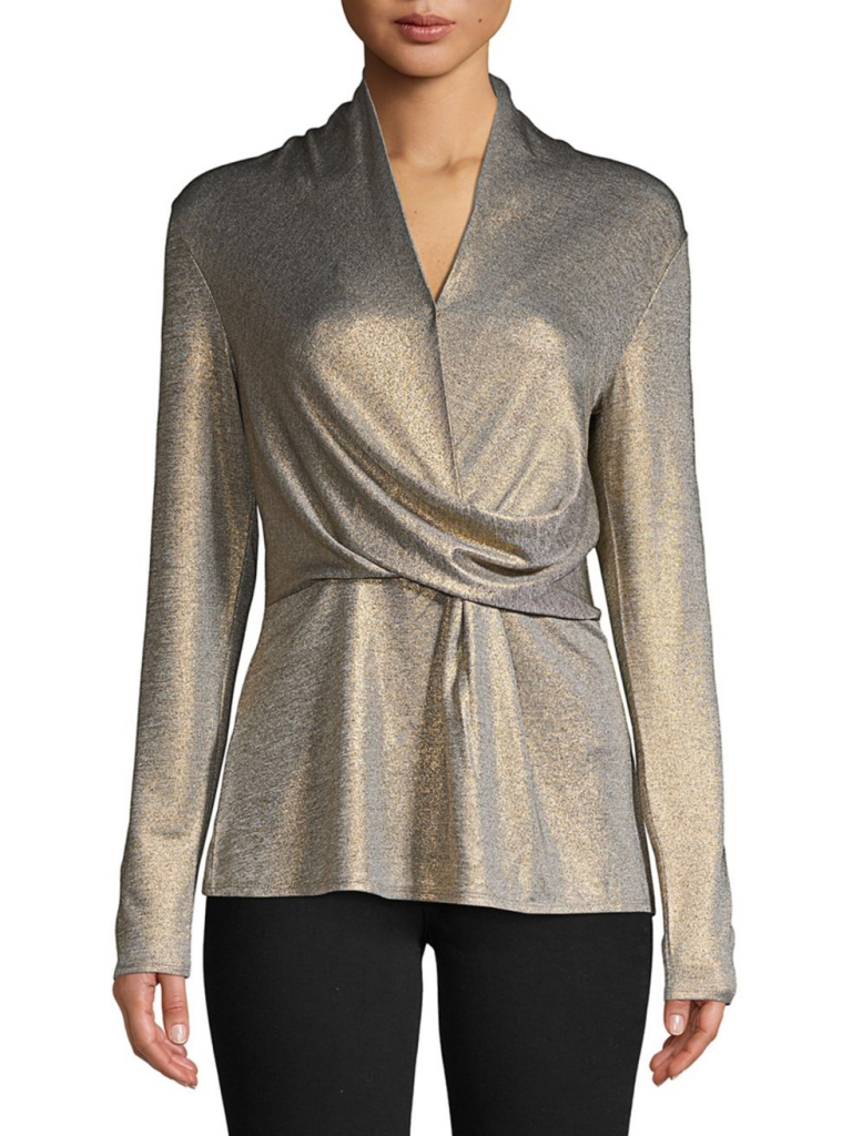 H Halston Drape-Front Long-Sleeve Top