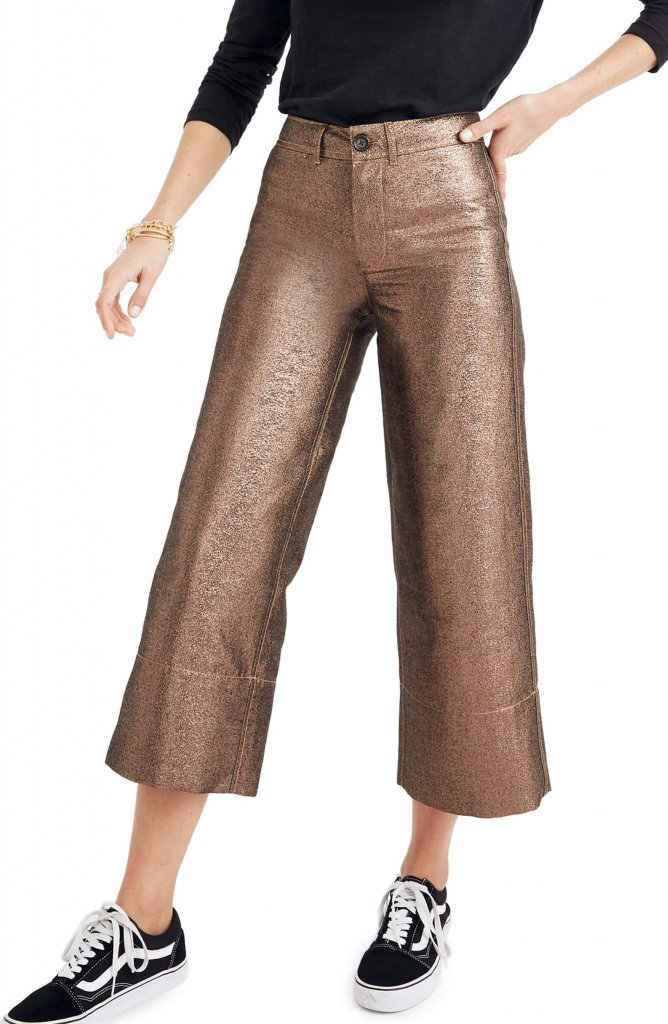 Madwell Langford Metallic Crop Wide Leg Pants