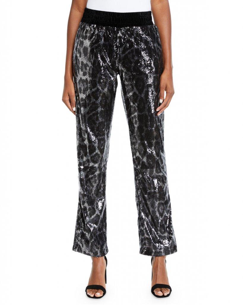 RtA Ash Sequin Leopard-Print Pants