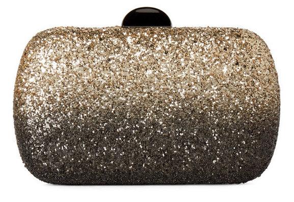 Sondra Roberts Ombre Black Gold Glitter Clutch