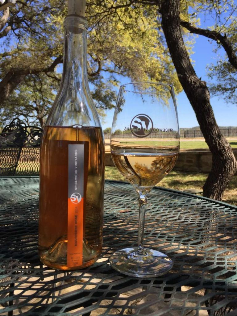 Spicewood Mourvedre Rose with Vineyard View