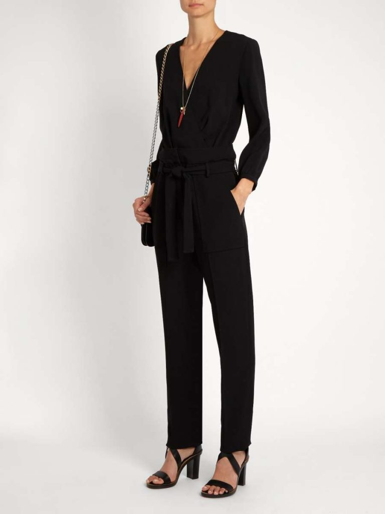 Franco Plunging Tapered-Leg Crepe Jumpsuit