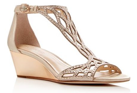 Vince Camuto Metallic Rhinestone Cutout Wedge Sandals