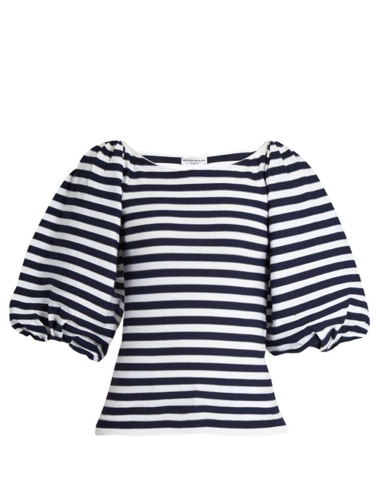 Balloon-Sleeved Striped Top