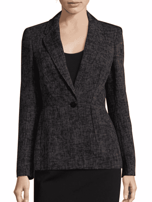 Patterned One Button Blazer
