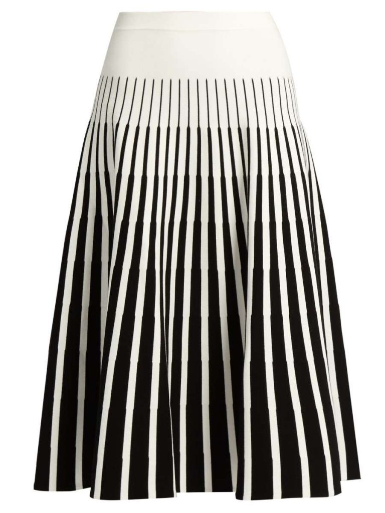 Stripe-Intarsia Fluted Skirt