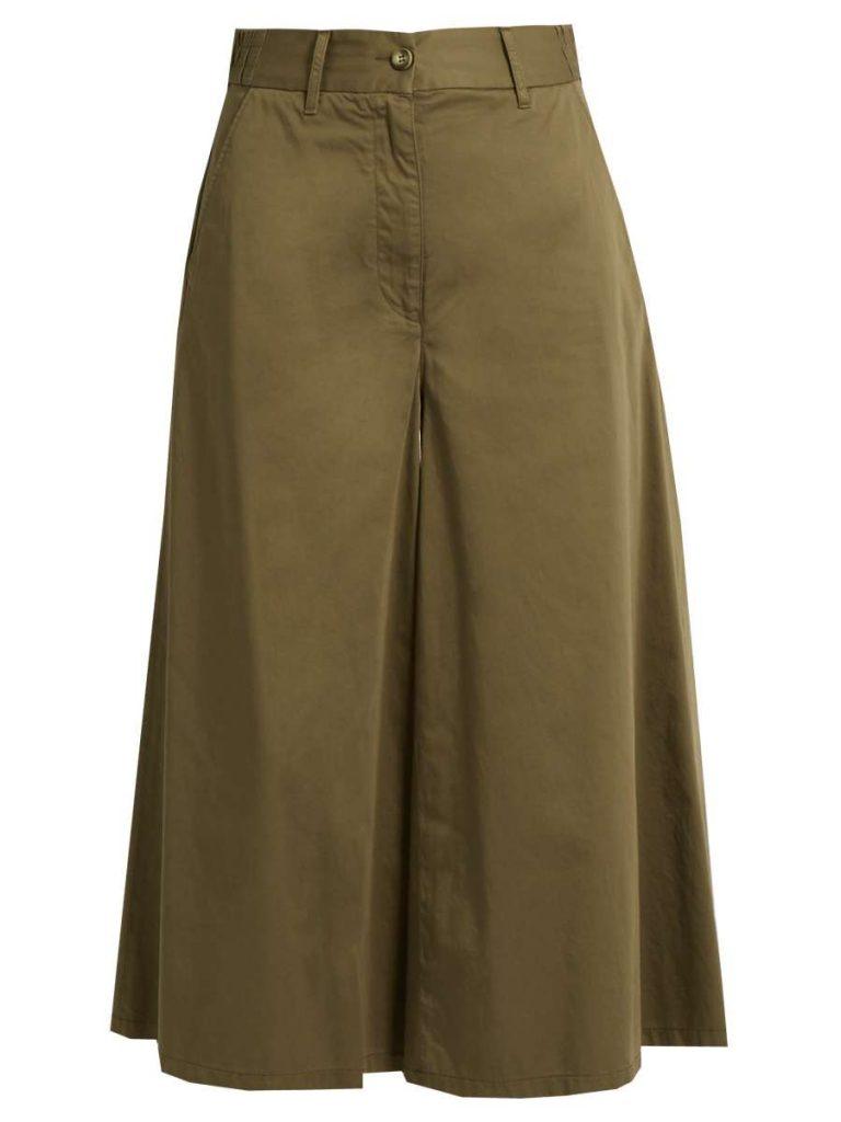 Wide-Leg Cotton-Poplin Cropped Trousers
