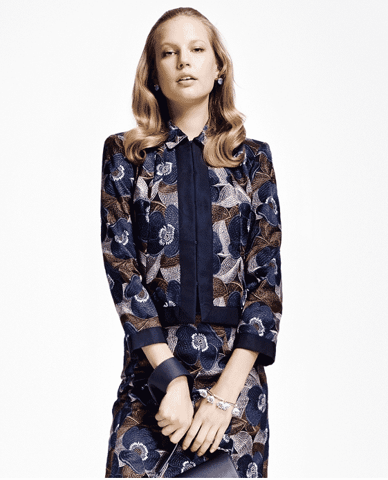Brooks Brothers Floral-Embroidered Cropped Jacket