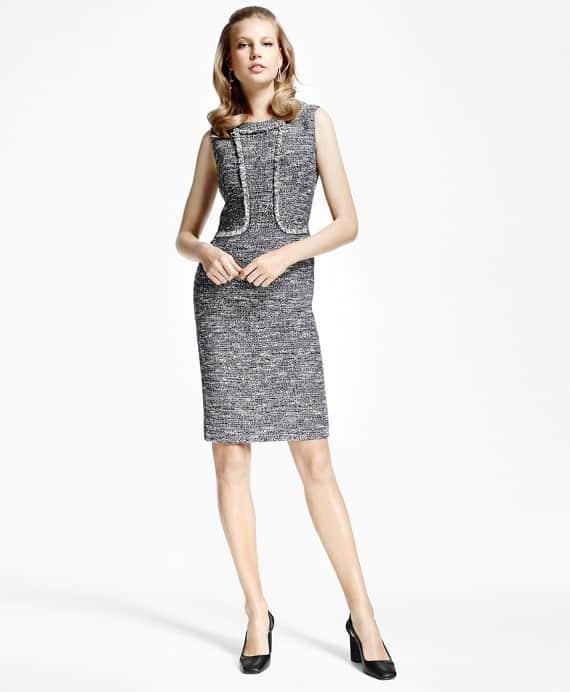 Brooks Brothers Tweed Fringe Sheath Dress