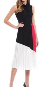 Karl Lagerfeld Pleated Colorblock Hammered Mock Neck Sleeveless Dress