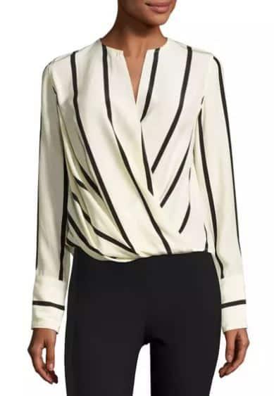 Max Long-Sleeve Striped Silk Blouse
