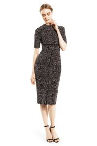Patterned Stretch Jacquard Seamed Fitted Dress