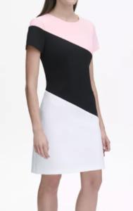 Scuba Crepe Diagonal Colorblock Shift Dress