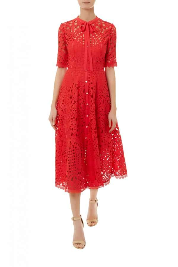 Berry Lace Neck Tie Dress