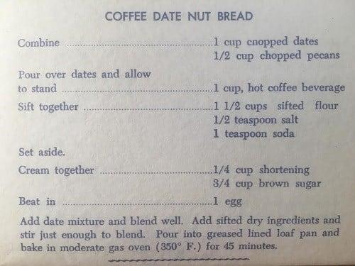 Coffee Date Nut Bread