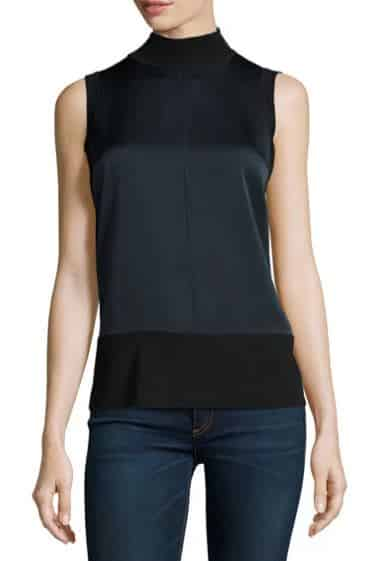 Darcie Mixed-Media Mock-Neck Tank
