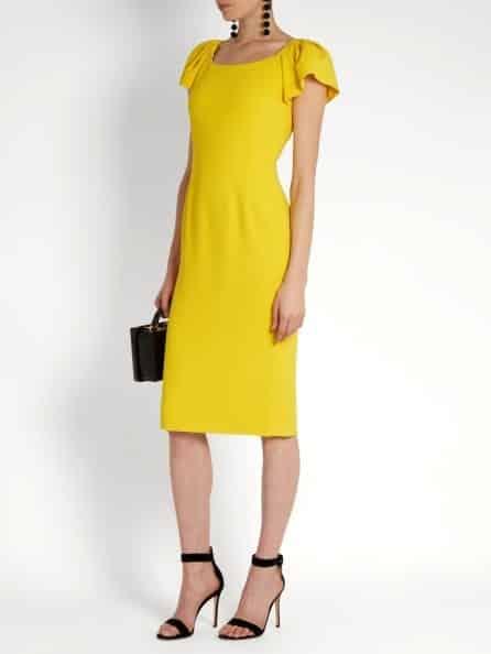 Dolce Gabbana Cap-Sleeved Cady Midi Dress