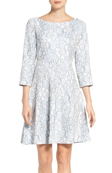 Embroidered Floral Fit & Flare Dress