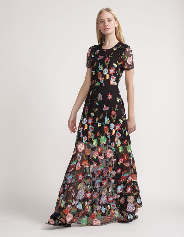 Embroidered Tulle Lace Maxi Dress