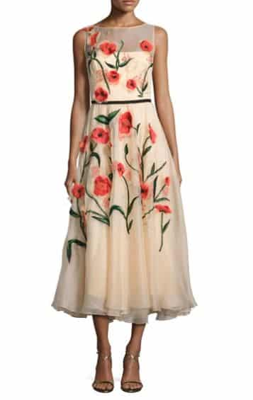 Floral-Appliqué Sleeveless Midi Dress