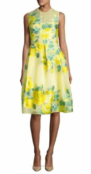 Floral Fil Coupe Full-Skirt Dress