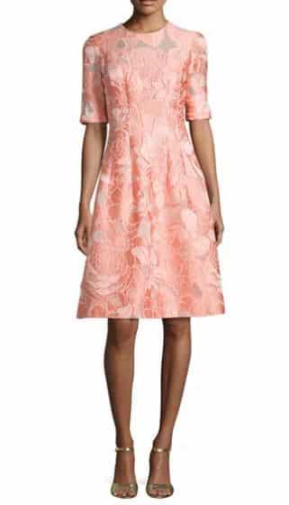 Floral Fil Coupe Half-Sleeve Dress