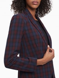 Burgundy Plaid One Button Blazer for Women