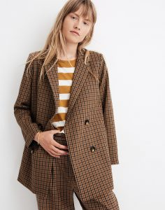 CALDWELL DOUBLE-BREASTED BLAZER IN DESERT CHECK for wome by madewell