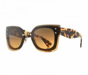 Square Butterfly Sunglasses w/ Overlay Lenses